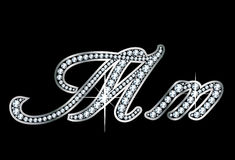 Script Diamond Bling Mm Letters. Stunningly beautiful script M and m set in diamonds and silver Royalty Free Stock Image