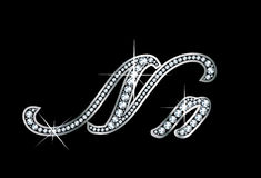 Script Diamond Bling Nn Letters. Stunningly beautiful script N and n set in diamonds and silver Stock Images