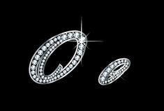 Script Diamond Bling Oo Letters. Stunningly beautiful script O and o set in diamonds and silver Royalty Free Stock Photography