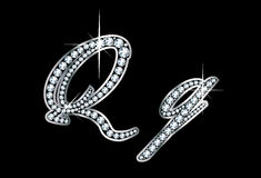Script Diamond Bling Qq Letters. Stunningly beautiful script Q and q set in diamonds and silver Stock Photos