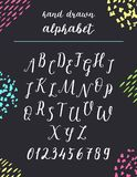 Script font alphabet written with a brush. Vector alphabet. Hand drawn letters and numbers Stock Photography