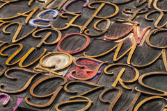 Script font wood type Stock Image