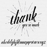 Script lettering font, handwritten calligraphic. Thank you so much Script lettering font, handwritten calligraphic alphabet, It can be used for your design Stock Images