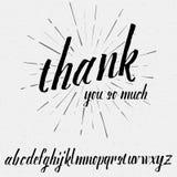 Script lettering font, handwritten calligraphic Stock Images