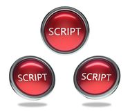 Script glass button. Script round shiny red 3 angle web icons with metal frame,3d rendered isolated on white background Royalty Free Stock Photo