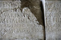 Script in stone, Rome, Italy. Stock Photo