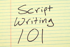 Script Writing 101 On A Yellow Legal Pad Stock Photo