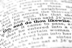 Scripture from Bible Go and Do stock photography