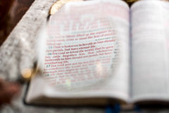 Scripture di 3:16 di John con le lenti d'ingrandimento della lettura Fotografie Stock
