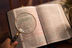Scripture with gold praying hands Royalty Free Stock Image