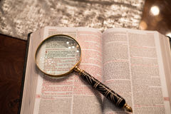 Scripture with gold praying hands Stock Photo