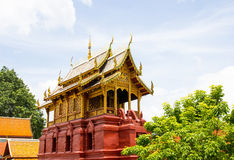 Scripture hall in Thai Buddhist temple Royalty Free Stock Photo