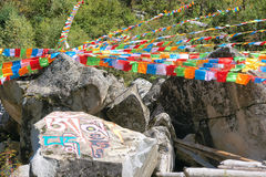 Scripture and prayer flags Royalty Free Stock Photo
