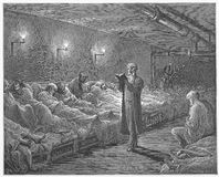 Scripture Reader in a night Refuge. Picture from Gustave Dore's London: a Pilgrimage illustrated book published in 1873, London - UK Royalty Free Stock Photos