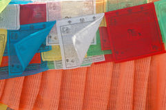 Scripture text on prayer flags Stock Photos