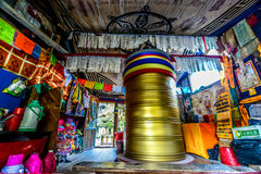 Scripture tube of hydrodynamic in the house - Jiuzhaigou, Sichuan, China Royalty Free Stock Images