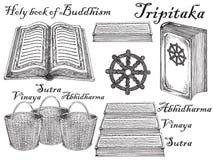 Scriptures buddisti di stile disegnato a mano di schizzo dell'inchiostro di vettore fissati Fotografie Stock Libere da Diritti