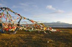 Scripturewimpels van Tibet Stock Fotografie