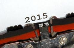 2015 scritto con la macchina da scrivere nera dell'inchiostro Fotografia Stock