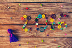 2016 scritto dai bottoni e dalle perle Fotografie Stock