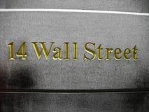 scritto dorato di numero 14 di Wall Street Fotografia Stock