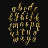 Scritto latino scritto a mano della spazzola di calligrafia delle lettere minuscole Alfabeto di scintillio dell'oro Vettore illustrazione vettoriale