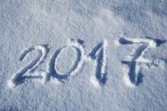 2017 scritto nella traccia della neve Immagini Stock