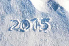 2015 scritto in neve Immagine Stock Libera da Diritti