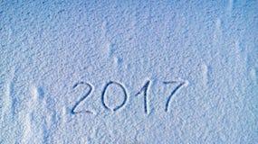 2017 scritto in neve Fotografia Stock Libera da Diritti