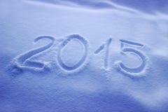 2015 scritto su neve Immagini Stock Libere da Diritti