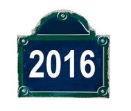 2016 scritto su un piatto della via di Parigi isolato su bianco Fotografia Stock Libera da Diritti
