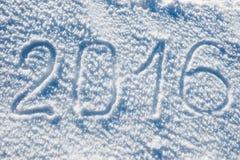 2016 scritto sulla neve bianca Fotografia Stock Libera da Diritti