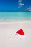 2016 scritto sulla sabbia bianca della spiaggia tropicale con Fotografie Stock Libere da Diritti
