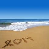 2014 nuovi anni sulla spiaggia Fotografia Stock Libera da Diritti