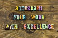 Scritto tipografico autografo di successo di direzione di orgoglio del lavoro fotografia stock libera da diritti