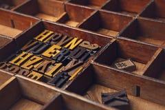 Scritto tipografico composto di legno nell'ordine casuale, all'angolo Fotografia Stock