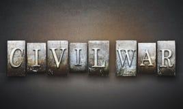 Scritto tipografico della guerra civile Immagini Stock