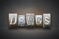 Scritto tipografico delle droghe Fotografia Stock Libera da Diritti