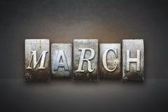 Scritto tipografico di marzo Fotografia Stock