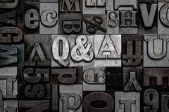 Scritto tipografico Q&A Fotografie Stock Libere da Diritti