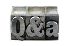 Scritto tipografico Q&A Immagini Stock