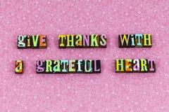Scritto tipografico riconoscente del cuore riconoscente di ringraziamenti di elasticità fotografie stock