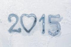 Scritto un fondo della finestra di inverno Fotografia Stock