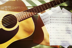 Scrittore Melody Enjoyment Music Note Concept di canzone della chitarra Fotografia Stock