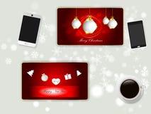 Scrittori e cartoline di Natale di vista superiore Fotografie Stock Libere da Diritti