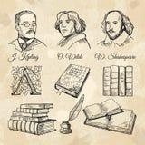 Scrittori famosi di inglese e libri differenti illustrazione di stock