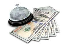 Scrittorio Bell con soldi Immagini Stock