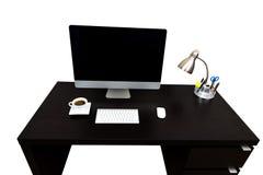 Scrittorio Coffe del computer isolato sopra bianco Fotografie Stock