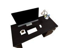 Scrittorio Coffe del computer isolato sopra bianco Fotografia Stock