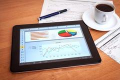 Scrittorio con la compressa digitale. Ricerca di mercato. Immagine Stock